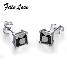 Fate Love Classic Women Earrings Gold Color AAA+ Rhinestone Stud Earrings Black and White Cubic Zirconia Wedding Earrings FL015