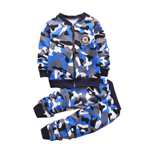 High quality autumn and winter children's clothing plus velvet / camouflage / thickening warm sports suit 1-5 year old boy girl