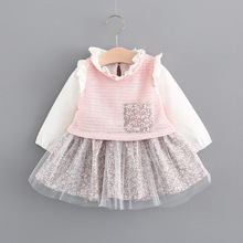 Baby Girls Dresses 0-3 Years Old 2017 New Autumn Fashion Style Girls Dress Cotton Mesh Grey Pink Color A025 Baby Dresses(China)