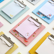 Cartoon Panda Fruit Stickers Memo Pad Sticky Notes With Metal Clipboard Post It Kids Kawaii Stationery Office & School Supplies(China)