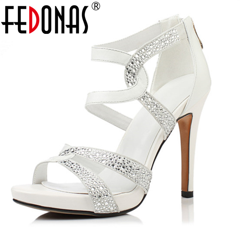 FEDONAS Women Genuine Leather Shoes Thin High Heels Rhinestone Ankle Buckles Ladies Wedding Party Shoes Woman Summer Sandals <br>
