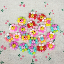 50Pieces Mixed Color Flatback Flat Back Resin Kawaii Cabochon DIY Sunflower With Smile Resin Craft Decoration For Hair Bow:19mm(China)