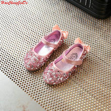 Children Princess Glitter Sandals Kids Girls Soft Shoes Sequin Low-heeled Dress Party Shoes Pink/Silver/Gold Size 21-36(China)