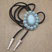 New Arrival Fashion Southwest Silver Indian Turquoise Zuni Navajo Leather Neck Bolo Tie Line Dance High Good Quality Jewelry(China)