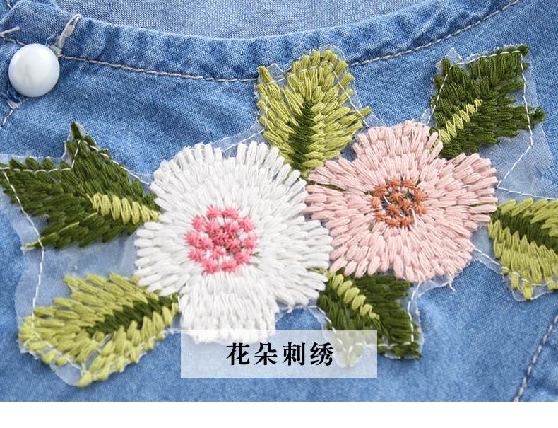 3-12 y summer girls clothes set denim outfits fashion sets for girl sleeveless embroidery top flared trousers children\`s sets (11)