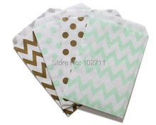 96 Party  Paper Favor Bags, choose 4x6 or 5x7,Mix Gold and Mit Green Polka Dot Chevron Paper Favor Bags,1st Birthday Party