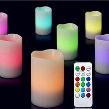 Popular Holiday Party Celebration Romantic Changing Color LED Light Candles Remote Control Flameless Wax Candles 3Pcs/set(China)