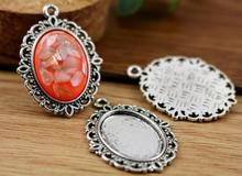 8pcs 13x18mm Inner Size Antique Silver Simple Style Cameo Cabochon Base Setting Charms Pendant necklace findings (D4-20)(China)