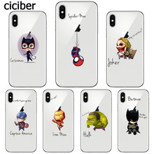 Funny Marvel Case Spiderman Joker Iron Man Batman for Apple iphone X 8plus 8 plus Silicone Soft Clear TPU Cover Fundas Capinha(China)