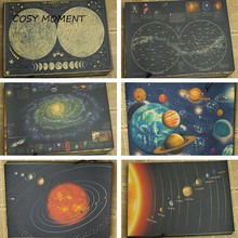 COSY MOMENT National Geography Earth Galaxy solar system Nine planets Retro Kraft Paper Poster Wall home Decoration Poster QT273