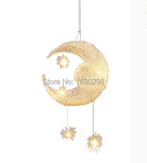 New Novelty Kid Children Room Pendant Lights Aluminum Lampshade Moon Star Bedroom Pendant Lamp G4 LED Bulb Light Fixtures<br>