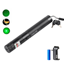 High Power Green Laser Pointer 532nm 5mW 303 Laser Pen Adjustable Powerful Starry Head Burning Match With 18650 Battery+Charger(China)