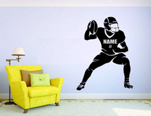Customize Name & Number American Football Wall Stickers Home Decor Player Name Personalized Soccer Car Wall Decals Muraux A264
