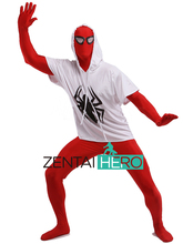 Free Shipping DHL Adult Full Body Red And White Spiderman Costume Lycra Spandex Super Hero Zentai Suit For Halloween Events