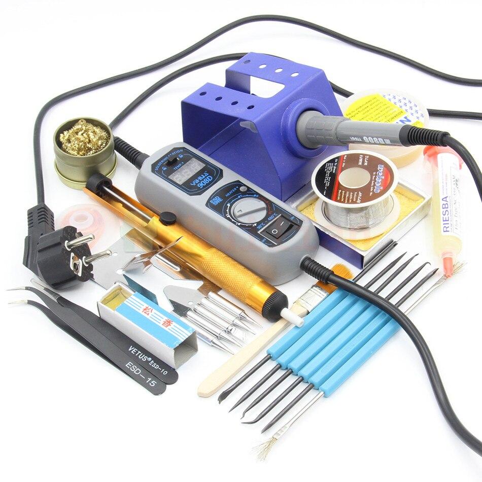 YIHUA 908D Adjustable thermostat Electric soldering iron set Welding repair tools kit set tweezers solder Iron tip<br>