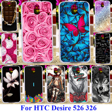 AKABEILA Soft Plastic Cases For HTC Desire 526 326 526G Covers 526G+ 326G Covers Rose Flower Butterfly Skin Silicone Bags Back