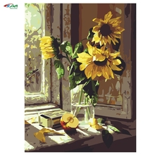 2016 Windows Sunflowers 40x50cm Frameless Handpainted  DIY Digital Oil Wall Painting By Numbers Hand Painted Home Decoration