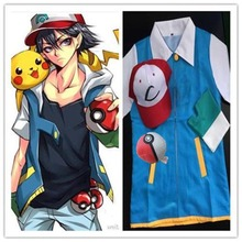 Anime Pokemon Ash Ketchum Trainer Costume Cosplay Jacket + Gloves + Hat + Ball Ash Ketchum Costume Christmas Gift Free Shipping