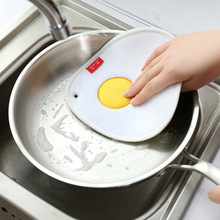 Thicker not lint do not stick the oil purse Egg shell plum plus super absorbent sponge scouring pad cloth