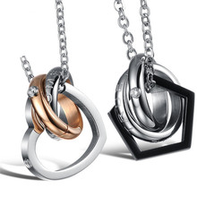 Tiamor dream come true couple stainless steel pendant necklace heart star shape gift for men women jewelry Ti664