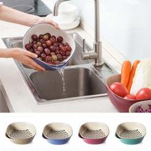 2-in-1Wheat straw double layer bit-water Basket basin fruit cleaning dunk Kitchen Vegetables Storage Washing Draining Baskets 3(China)