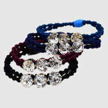Women Mulity Color Double Layer Shining Clear Crystal Hair Tie Hair Accessories High Quality Knot Rubber band Simple Hair tie