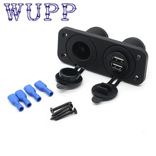 Hot car stying Dual USB Charger and Socket Panel Mount Marine 12 Volt Boat Power Outlet feb28