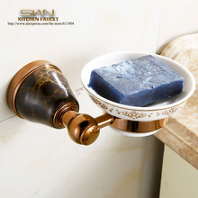 New  Arrival Brass&Stone Rose Red Soap Dish Holder soap plate holder,Bathroom Soap Holders bathroom accessaires 3562001