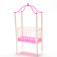 1PCS 11cm*5.5cm*23cm Small Sweet Baby Crib For Barbie Girls Doll Furniture Kelly Doll's Baby Bed Doll Accessories(China)