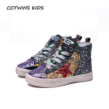 CCTWINS KIDS 2017 Children Pu Leather Glitter High Top Trainer Baby Girl Brand Casual Flat Toddler Fashion Sport Shoe F1701