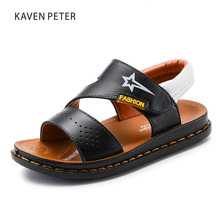 Boys sandals Genuine Cow leather casual children beach flat sandals baby shoes Hot sale boys sport orthopedic sneakers sandals(China)
