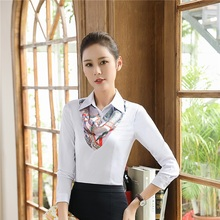 Plus Size Long Sleeve Blouses & Shirts For Ladies Formal OL Styles Blouse Business Women Work Wear Tops Clothes With Scarf