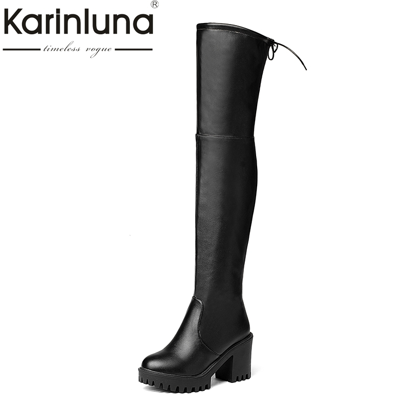 KARINLUNA 2017 new large size 34-43 platform square high heels women shoes woman party boots over the knee boots black<br>