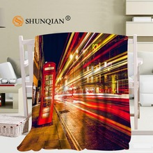 Custom London England Bus Night Blanket Soft Fleece DIY Picture Decoration Bedroom Size 58x80Inch,50X60Inch,40X50Inch  A7.10