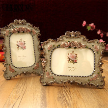 Embossed fashion vertical rich rose resin photo frame rustic vintage photo frame