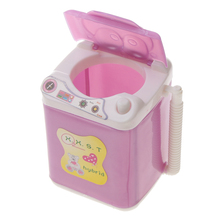 Dollhouse Miniature Furniture Plastic Pink Mini Washing Machine Toy for Barbie Dolls Doll House Decor Classic Kid Toy Gift