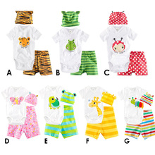 2017 summer baby boy clothes baby clothes set Cute animal cartoon images three-piece baby Romper climbing set