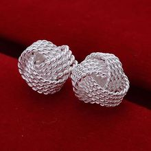 Free Shipping Silver Tennis net web stud earing cuff Wholesale summer style silver plated earrings for women Fashion jewelry(China)