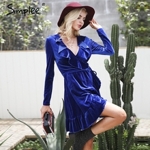 Simplee Ruffle vintage velvet dress women V neck short sexy dress Autumn winter long sleeve blue wrap dress vestido de festa