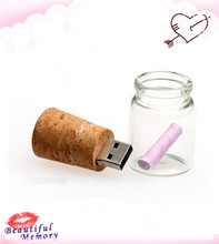 100% real capacity  new arrival messenger bottle usb 4GB 8GB 16GB 32GB memory glass drift bottle usb flash drives srong packing