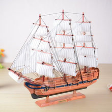60cm Wooden Vintage Sailing Ship Fashion Slap-up Business Gifts Dining Room Office Meeting Room Desk Ornaments(China)