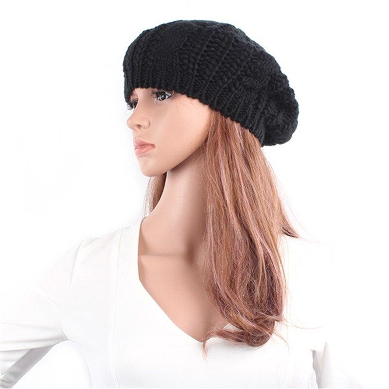 Punk Cute Hot Colorful Warm Winter Women Beret Braided Baggy Beanie Hat CapÎäåæäà è àêñåññóàðû<br><br>