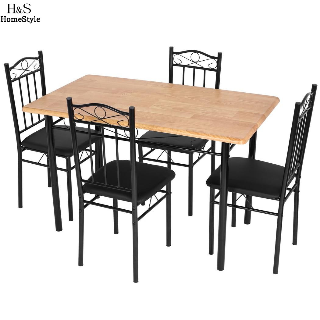 Homdox 5 Piece Kitchen Dining Set Living room Chair MDF Rectangle Dining Table with 4pcs Chair Furniture N30*<br>