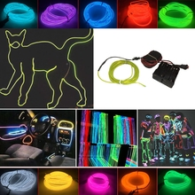 NEW 6M 8M 10M 12M 15M Colored Flexible EL Wire Neon LED Light Strip Tube Party Xmas Decoration 10 Colors For 8xAA