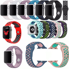 Soft Silicone Bracelet Sport Style Replacement Strap For Apple Watch Series 1 2 38mm 42mm Band For iWatch Nike+ Wrist Strap(China)