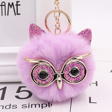 Keychain Charm Handbag Accesories Fluffy Pompom Owl Car-Pendant-Ball Animal-Glasses Fashion