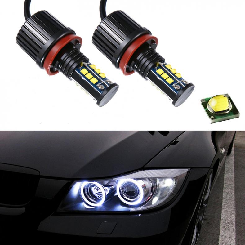 2pcs 8000LM 120W Super White H8 Angel Eyes Halo Ring Light Bulbs Xenon LED For BMW<br>