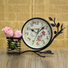 European Style Garden Clock Modern Living Room Mute Iron Table Clock Home Decor Desktop Clock With A Pen Holder