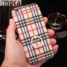 2017New Fashion Luxury Lattice Cases Cover For iPhone 6 6s Plus 7 7Plus Phone Cases Finger Ring Stand Wood Grain Case