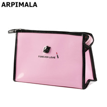 ARPIMALA Cute Women Makeup Bag Patent Leather Cosmetic Bag Girls Travel Make UP Case Beauty Pouch Toiletry Bag Pink Bath Storage